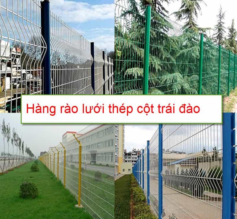Hàng rào lưới hàn cột trái đào