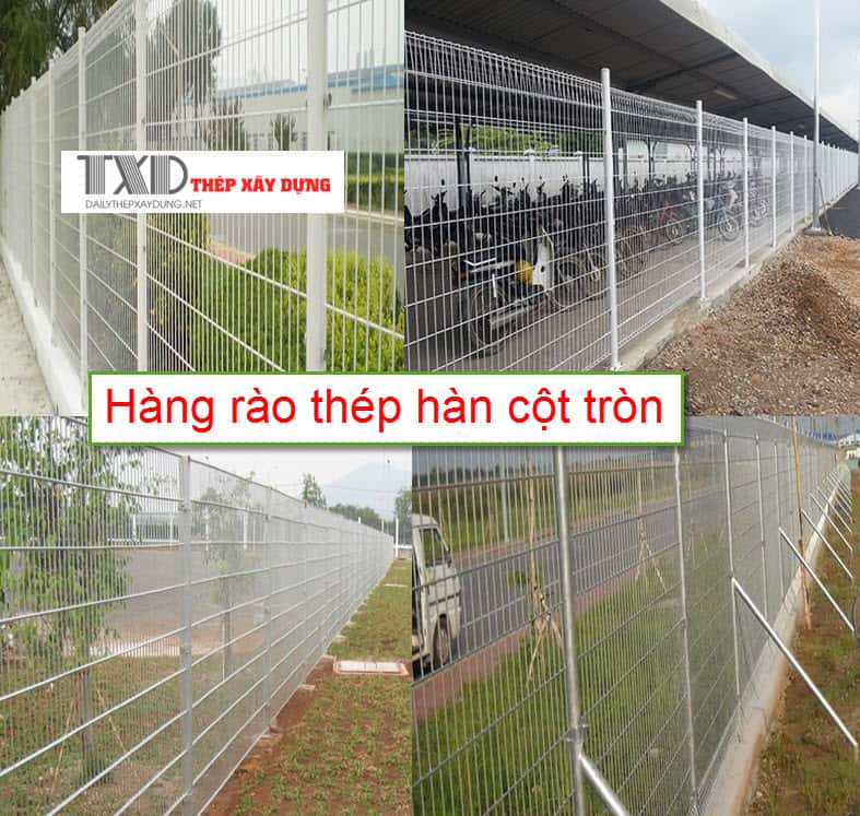 Hàng rào lưới hàn cột tròn