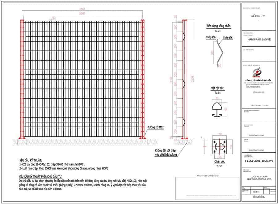 bản vẽ thiết kế hàng rào lưới thép hàn